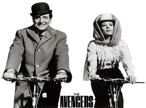 Avengers TV Show Cycling T-Shirt. Gents Ladies Kids Sizes Steed & Emma Peel Bike
